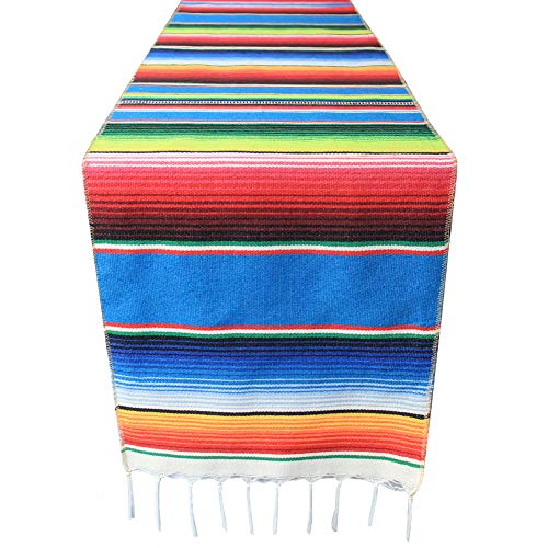 - 14x108 inch Mexican Serape Table Runner with Tassels for Mexican Home Party Decorations Christmas Thanksgiving Outdoor Wedding Ceremony, Colorful Striped Handwoven Fringe Cotton Blanket, Blue