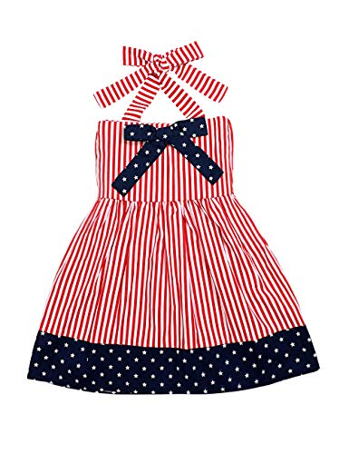 Toddler Baby Girl 4th of July Outfits Sleeveless Star Stripe Dress Bow-Knot Independence Day Clothes 4-5 T Red