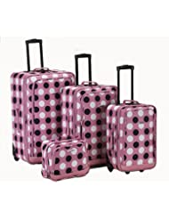Rockland Luggage Dot 4 Piece Luggage Set, Pink Dot, One Size