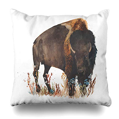 Ahawoso Throw Pillow Cover Bison American Buffalo Bull Wild Watercolor Painting Black Mammal Meat Art Pillowcase Square 16 x 16 Inches Home Decor Cushion Case (Bison Bull American)