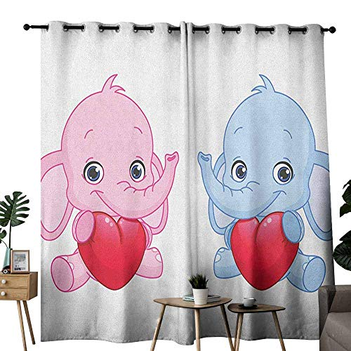 duommhome Elephant Nursery Customized Curtains Pink and Blue Kid Infant Elephants Holding Hearts Smiling Twins 70%-80% Light Shading, 2 Panels,W72 x L96 Pale Pink Blue White