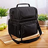 Fit & Fresh Lunch Box Insulated Lunch Bag Large Cooler Tote Bag for Men, Women, Double Decker Cooler, Black