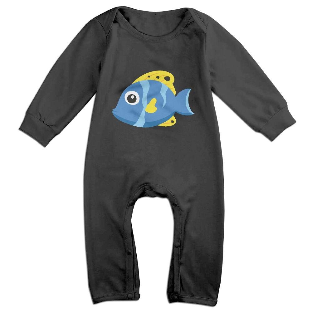 GooReady Cute Blue Fish Baby Infant Romper Long Sleeve Bodysuit