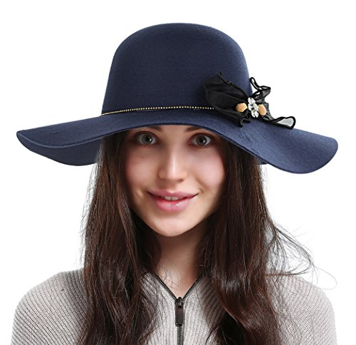 La Vogue Women Vintage Wool Wide Brim Felt Bowler Fedora Hat Floppy Cloche Blue
