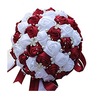 meiguiyuan Burgundy Red White Crystal Bridal Bouquet Custom Artificial Flower Bridesmaid Wedding Bouquet 106