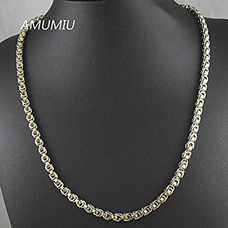 ruilinyang AMUMIU 45//50//55//60//65//70cm 316L Stainless Steel Men Chain Necklace Silver//Gold//Black Byzantine Box Chains 5.5mm HN073 Silver,50cm or 19.7inch