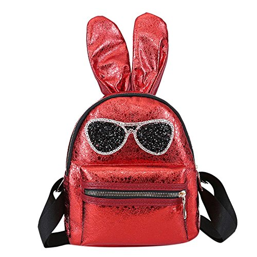 Everpert Backpacks Rabbit Glasses gold Mini Girls Glitter Red Bags Ear Women Casual ZUqEZrw