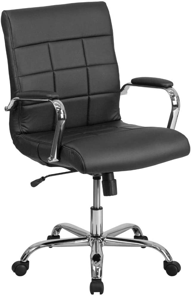 Flash Furniture Mid-Back Black Vinyl Executive Swivel Office Chair with Chrome Base and Arms, BIFMA Certified