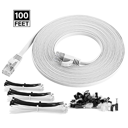Maximm Cat6 Flat Flexible Ethernet Cable, 100 Ft. [1-Pack] White – Pure Copper – Includes Cable Clips and Ties