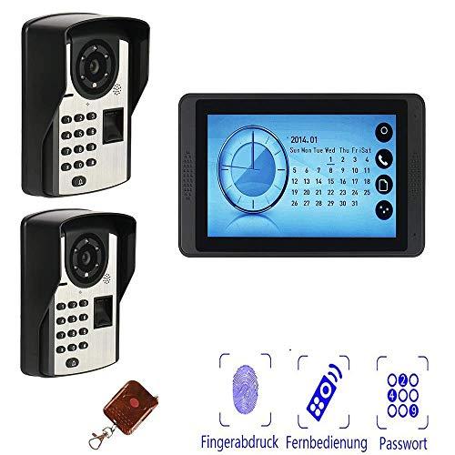 TQ Video doorbell, 7 inch Video doorbell kit, Wireless intercom, Fingerprint/Password/Unlock Remote, Waterproof Family/Villa Night Vision,A