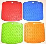Silicone Pot Holders Premium (4) Trivet Hot Mats, Heat Resistant Pads, Non-Skid Kitchen Accessories