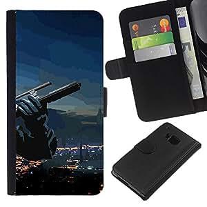 JackGot ( Abstract Gun ) HTC One M9 la tarjeta de Crédito Slots PU Funda de cuero Monedero caso cubierta de piel
