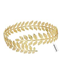 MANZHEN Fashion Gold-tone Swire Leaf Upper Arm Cuff Armlet Armband Adjustable Bangle Bracelet Adjustable