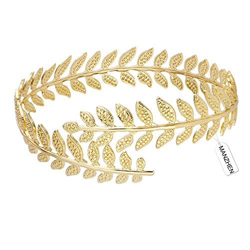 (MANZHEN Fashion Adjustable Leaf Cuff Bangle Infinity Gold-Tone Upper Arm Cuff Bracelet (Gold) )
