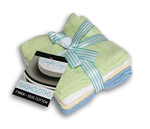 Brighter Days Multi-colored Washcloth Set - 7 Count - Lime, Blue, Yellow, and White