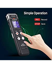 Grabadora de voz digital de 16 GB de EVISTR Grabadora de voz activada con reproducción   Grabadora de cinta pequeña mejorada para conferencias, reuniones, entrevistas, mini grabadora de audio Carga USB, MP3