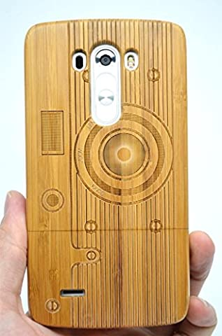 LG G3 Wood Case - Bamboo Camera Pattern - Premium Quality Natural Wooden Case for your Smartphone and Tablet - by (Real Wood Cover For Lg G3)