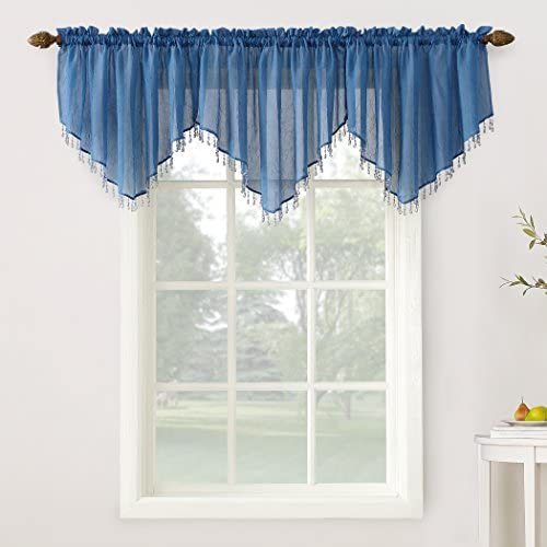 No. 918 27224 Erica Crushed Texture Sheer Voile Beaded Ascot Rod Pocket Curtain Valance, 51 x 24 , Blue