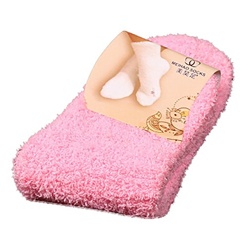 Lanhui Women Girls Soft Home Bed Floor Socks Fluffy Warm Winter Pure Color (Medium, Pink)