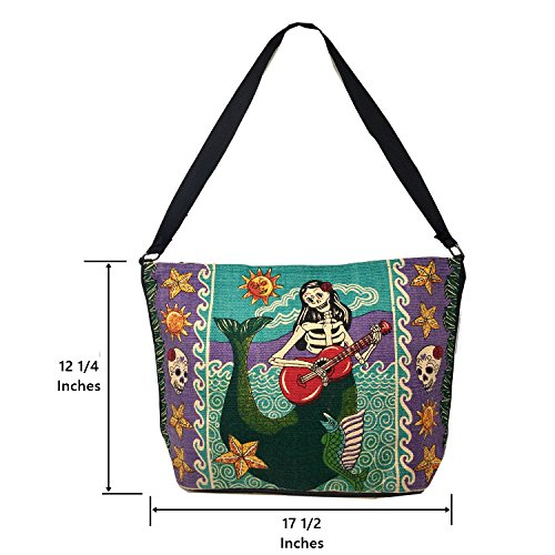 SpiritStar Sugar Skull Purse: Day of the Dead Inspired Daily Travel Bag Made with 100% Washable Cotton (Mermaid) by Spirit Quest Supplies (Image #2)