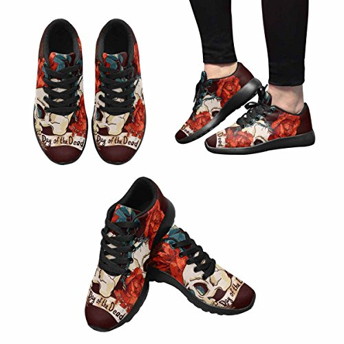D-Story Jogging Running Sneaker Skull and Flowers Day Of The Dead Womens Casual Comfort Sports Walking Running Shoes Black 2Ji1qj