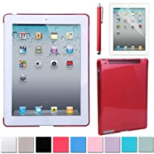 HDE Clear Color iPad Hard Case Plastic Back Cover + Screen Protector + Stylus Pen for iPad 2 iPad 3 iPad 4 (iPad 2/3/4, Red)