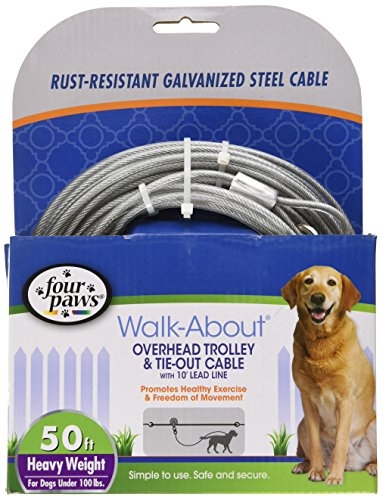 Four Paws Walk-About Overhead Trolley & Tie-Down Rust-Resistant Galvanized Steel Exerciser Cable for Dogs, 50""
