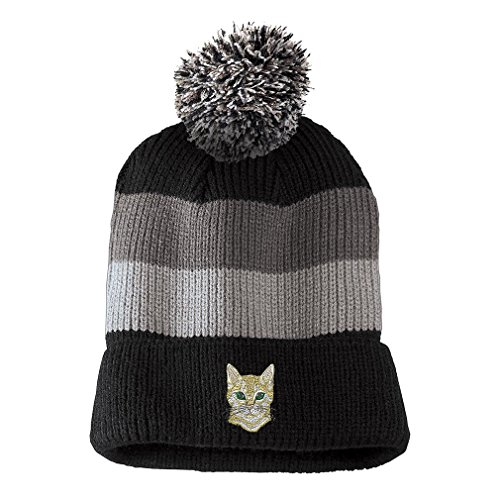 (Bengal Cat Face Head Embroidered Unisex Adult Acrylic Vintage Striped Removable Pom Pom Beanie Winter Hat - Black/Grey Stripes, One Size)