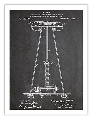 (1914 Nicola Tesla Electrical Energy Transmitting Tower 18x24 Patent Poster Blackboard)