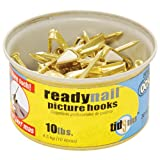 OOK 50606 ReadyNail Conventional Picture Hook Tidy Tin Supports Up to 10 Pounds, 30 sets, Brass 30 sets