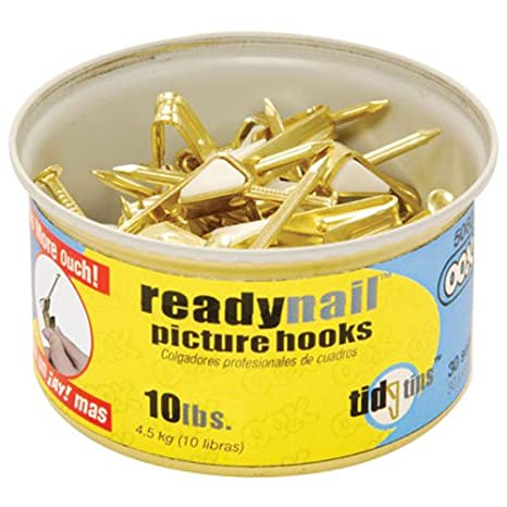 OOK 50606 ReadyNail Conventional Picture Hook Tidy Tin Supports Up to 10 Pounds, 30 sets, Brass 30 sets HILLMAN GROUP