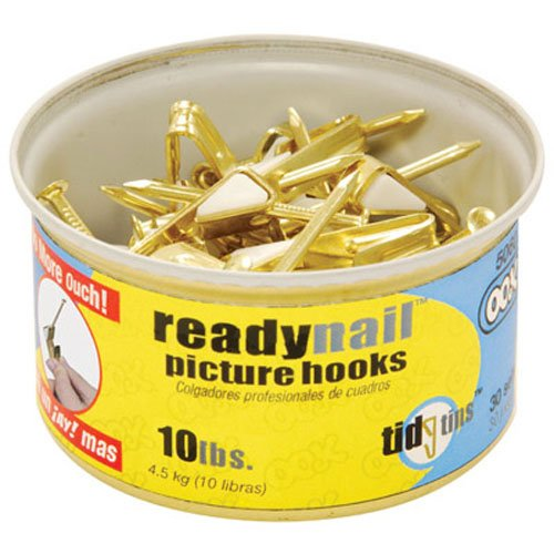 OOK 50606 ReadyNail Conventional Picture Hook Tidy Tin Supports Up to 10 Pounds, 30 sets, Brass 30 (Hook Tin)