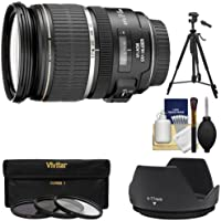 Canon EF-S 17-55mm f/2.8 IS USM Zoom Lens with 3 UV/CPL/ND8 Filters + Hood + Tripod Kit for EOS 7D, 77D, 80D, Rebel T6, T6i, T6s, T7i, SL1 SL2 Cameras