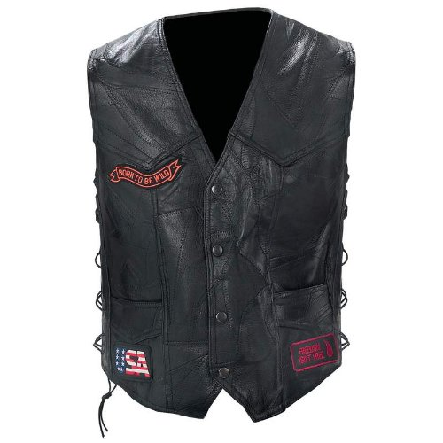 Diamond Plate Mens Plus Leather Embroidered Patches Outerwear Vest