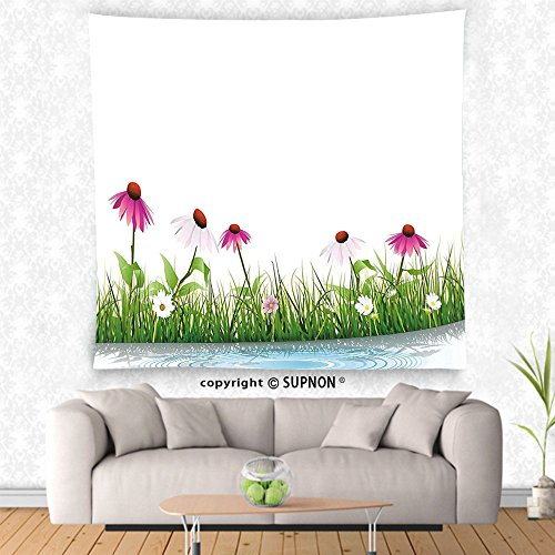VROSELV custom tapestry Watercolor Flower Home Decor Tapestry Coneflower by the Lake Water Sea Fall Hand Drawn Horizontal Print Wall Hanging for Bedroom Living Room Dorm (Big Sky Coneflower)