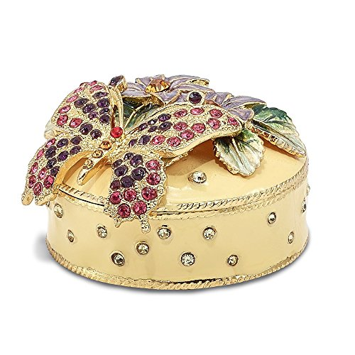 Saris and Things Bejeweled Flowered Butterfly Trinket Box with Charm Pendant