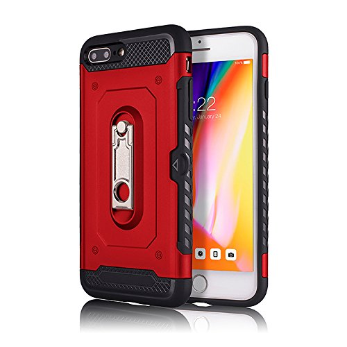 - iPhone 6 Plus/ 6S Plus Case, KMISS [Card Slot Holder] Dual Layer Hybrid Protective Case Ultra Slim Thin Hard Cover Credit Card Slot Kickstand Apple iPhone 6 Plus/ 6S Plus (Red)
