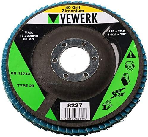 "40 Grit Zirconium Flap Discs for Sanding Grinding Removal 4-1/2"" Grinder 50pc"