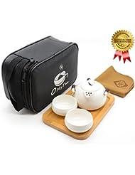OMyTea Portable Travel Tea Set - 100% Handmade Chinese / Japanese Vintage Kungfu Gongfu Tea Set - Porcelain Teapot & Teacups & Bamboo Tea Tray & Tea Mat with a Portable Travel Bag (White-2 cups)