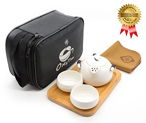 OMyTea Portable Travel Tea Set - 100% Handmade Chinese / Japanese Vintage Kungfu Gongfu Tea Set - Porcelain Teapot & Teacups & Bamboo Tea Tray & Tea Mat with a Portable Travel Bag (White-2 cups)