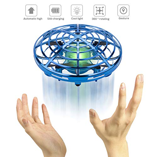 (Flying Ball Toy - Sugoiti Mini Drones Quadcopters UFO Aircraft Motion Hand Controlled, Interactive Infrared Induction RC Helicopter with Led Light, Free Hover Automatic Sensing Obstacle, Gift for Kids)