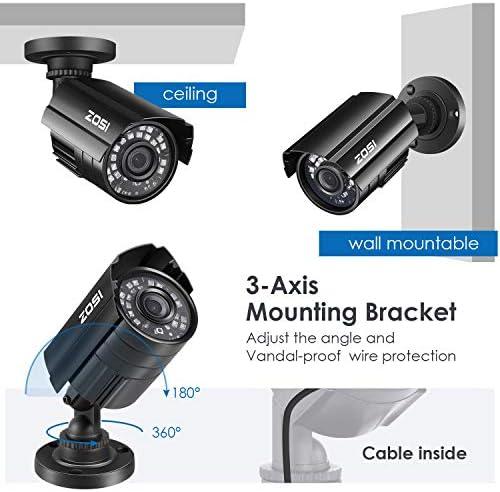 ZOSI 1080P Hybrid 4-in-1 HD TVI/CVI/AHD/CVBS 1920TVL 2.0MP CCTV Camera Home Security System 80ft Day/Night Vision Metal Waterproof Housing For 960H,720P,1080P,5MP,4K analog Surveillance DVR 51OUAbkf dL