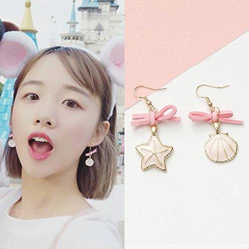 (Earrings Earring Dangler Eardrop Long 2018 Creative Two Necklace Pendant Girls Fashion Sequins (# 14 Shell Asymmetrical Five-Pointed Star)