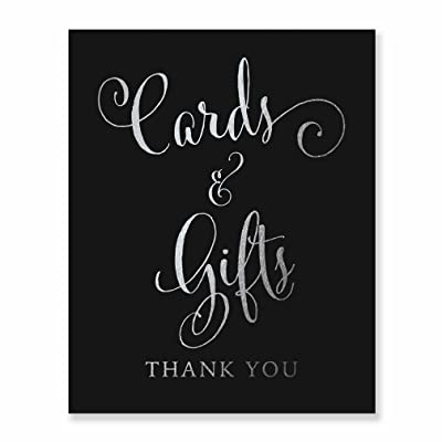 Cards & Gifts Silver Foil Print on Black Paper Wedding Reception Signage Gift Table Sign Party Decor Calligraphy Newlyweds Modern Metallic Poster 5 inches x 7 inches D35