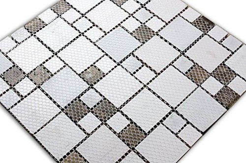 HYH 8mm Thickness Electroplated Glass Mesh-mounted Mosaic Tile Sheet for Kitchen Backsplash Bathroom Wall and Swimming Pool 12 In. X 12 In.(D0434B1) Lot of 5 Sheets by HYH (Image #3)