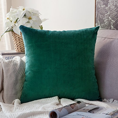 MIULEE Velvet Soft Soild Decorative Square Throw Pillow Covers Green Cushion Case for Sofa Bedroom Car 20 x 20 Inch 50 x 50 cm