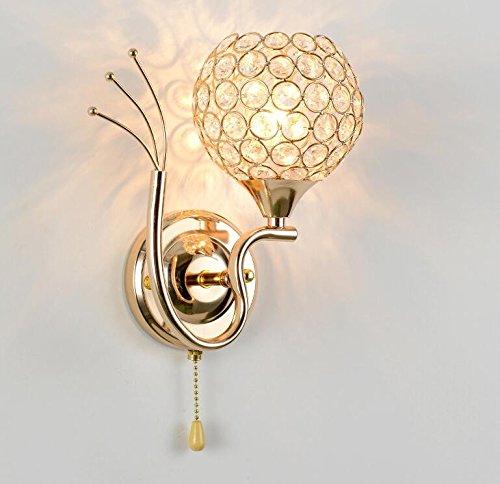 YU-K Lámpara de pared LED redonda dormitorio lámparas de cristal de cabecera E27 moderna escalera simple salón luces creativas 28 * 12 CM
