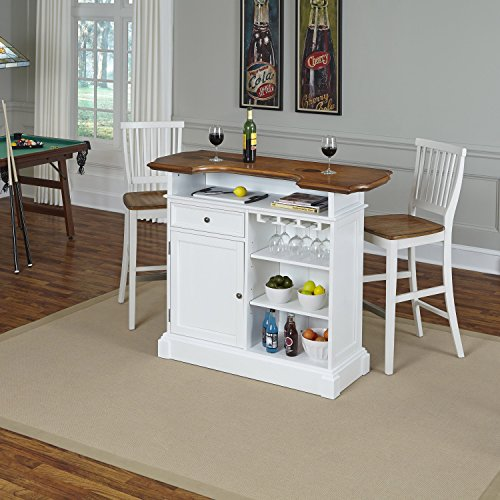 Home Styles Model 5002-998 and Two Stools White and Oak Finish Americana Bar-Parent