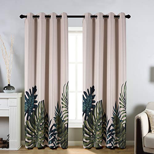 Taisier Home Palm Leaves Print Exotic Style Nature Artwork,2 Panels Fashion Grommet Top Thermal Insulated Room Darkening Curtains,Printing Curtain Leaves(84