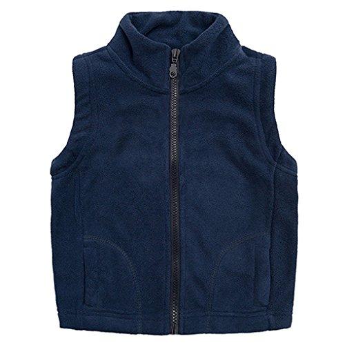 Winter Vest Jacket (SanReach Little Boy Winter Warm Fleece Vest Lightweight Sleeveless Jacket Coat Outerwear Deep Blue Size 140)